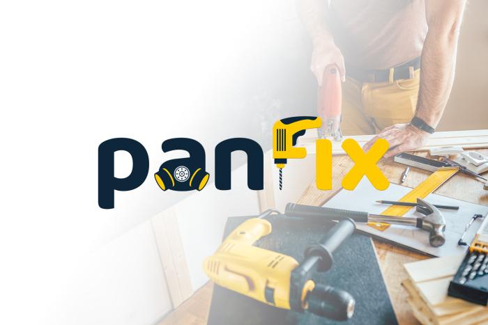 Panfix - Logo dla firmy usługowej z Warszawy świdczącej m.in usługi remontowe, dezynfekcji, transportu