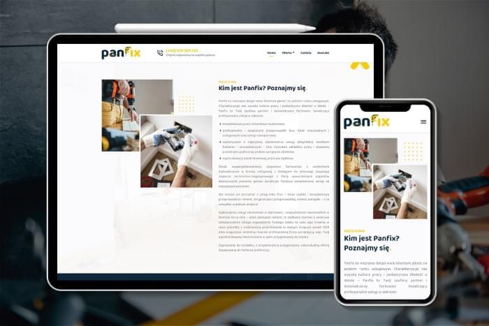PANFIX - Strona www dla firmy firmy usługowej z Warszawy świdczącej m.in usługi remontowe, dezynfekcji, transportu (projekt + kodowanie)