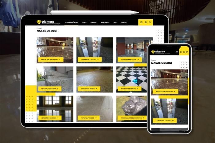 Renowacja Posadzek Kamiennych Diament - Strona www dla firmy zajmującej się renowacją posadzek kamiennych RPK Diament z Pszczyny (projekt + kodowanie)